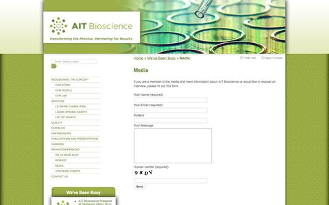 Screenshot of Press Page aitbioscience.com - Media -AIT Bioscience - captured April 3, 2018