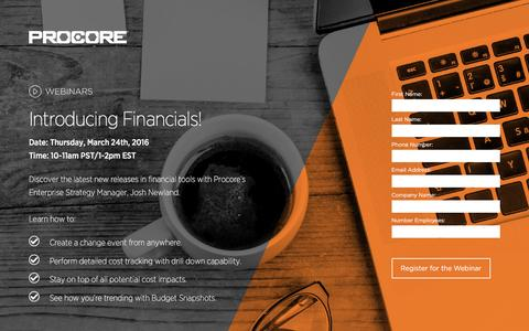 Screenshot of Landing Page procore.com - Introducing Financials! - captured March 15, 2016