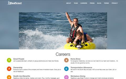Screenshot of Jobs Page realscout.com - Careers at RealScout / RealScout - captured Oct. 22, 2014