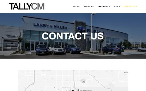 Screenshot of Contact Page tallycm.com - Contact Us — TallyCM - captured Sept. 20, 2018
