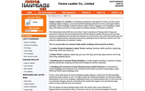 Screenshot of About Page fashionhandbagsline.com - ABOUT US-fashion handbags,wallets,briefcases,custom handbags manufacturer and supplier in china - captured Oct. 3, 2014