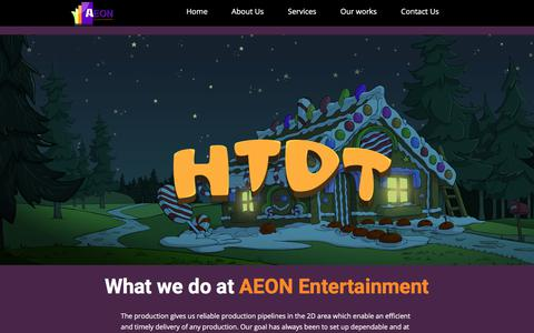Screenshot of Services Page aeonent.com - Aeon Entertainment - captured Oct. 7, 2017