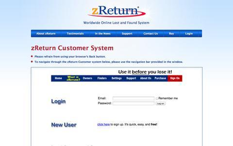 Screenshot of Login Page zreturn.com - zReturn.com > zReturnOwners - captured Sept. 30, 2014