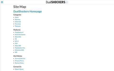 Screenshot of Site Map Page dualshockers.com - Site Map - captured June 5, 2017