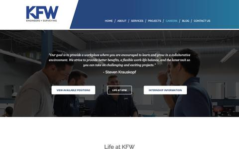 Screenshot of Jobs Page kfwengineers.com - KFW Engineers + Surveying - Careers - captured March 16, 2019