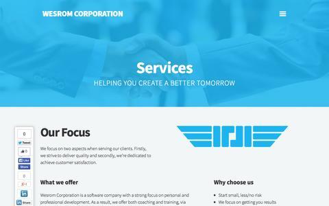 Screenshot of Services Page wesrom.com - Services   Wesrom - captured Nov. 3, 2014