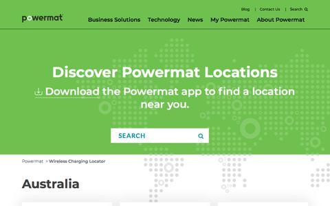 Screenshot of Locations Page powermat.com - Wireless Charging Locator | Powermat • Life at 100% - captured April 30, 2018