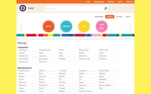 Screenshot of Site Map Page tuck.com.sg - Tuck Shop (Singapore). Sitemap - captured Oct. 6, 2014