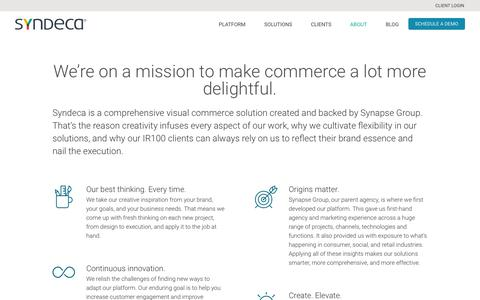 Screenshot of About Page syndeca.com - Visual Commerce Solution | About the Syndeca Visual Commerce Cloud - captured Sept. 22, 2018