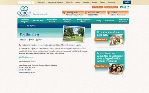 Screenshot of Press Page caronrenaissance.org - Florida Drug Rehab - For the Press - Renaissance Media Contacts   Caron Renaissance - captured Oct. 2, 2014