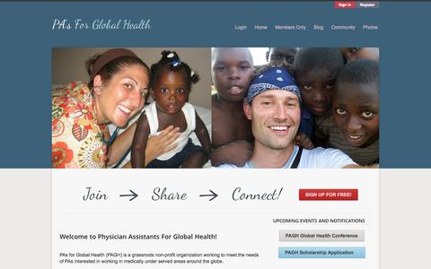 Screenshot of Home Page pasforglobalhealth.com - PAGH | Physician Assistants for Global Health - International - captured Oct. 2, 2014