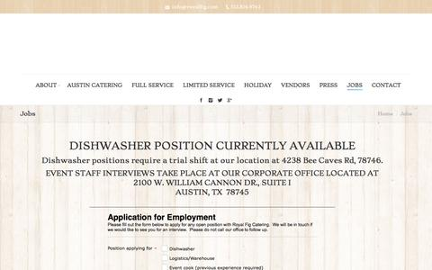 Screenshot of Jobs Page royalfig.com - Jobs - Austin Wedding Caterers - Royal Fig Catering - captured Dec. 1, 2016