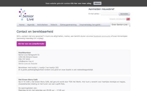 Screenshot of Contact Page senior-live.nl - Senior Live - Contact | Senior Live - captured Oct. 28, 2016