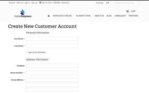 Screenshot of Signup Page helianpolymers.com - Create New Customer Account - captured Nov. 4, 2018