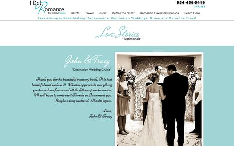 Screenshot of Testimonials Page idoromance.com - Love Stories & Testimonials - captured Nov. 16, 2016