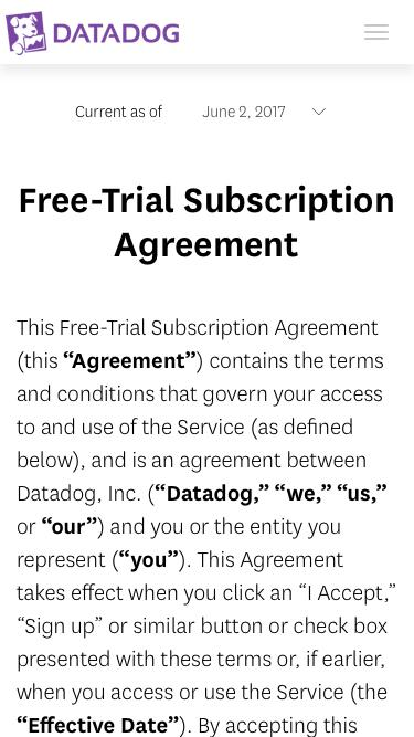 Screenshot of Trial Page  datadoghq.com - Free-Trial Subscription Agreement