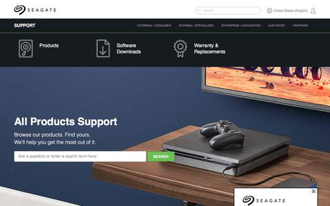 Screenshot of Products Page seagate.com - Product Support | Seagate US - captured May 15, 2018