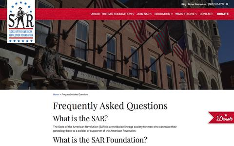 Screenshot of FAQ Page sarfoundation.org - Frequently Asked Questions - Sons of the American Revolution Foundation - captured July 25, 2018