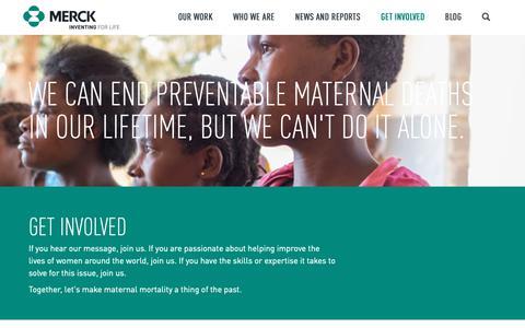 Screenshot of Signup Page merckformothers.com - Merck for Mothers   Get Involved - captured Nov. 20, 2018