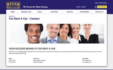 Fox Rent A Car - Careers