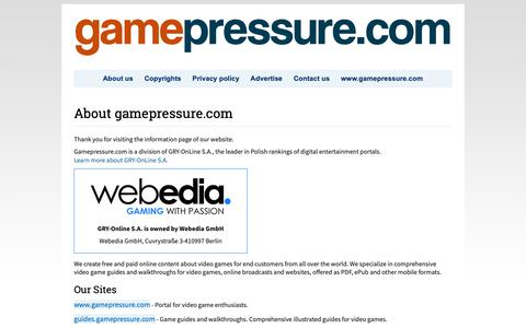 Screenshot of About Page Privacy Page Contact Page gamepressure.com - GamePressure.com About Us. - captured Nov. 7, 2018