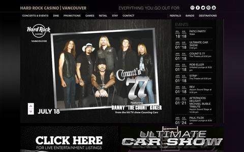 Screenshot of Home Page hardrockcasinovancouver.com - Hard Rock Casino Vancouver - Casino, Dining, Entertainment : Hard Rock Casino Vancouver - captured July 19, 2015