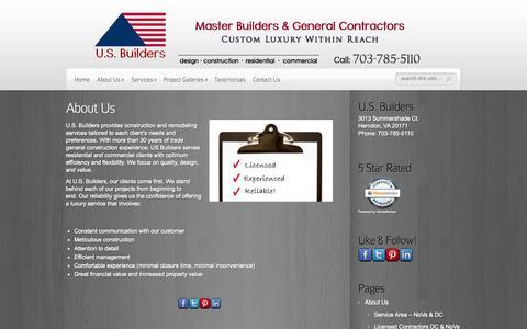 Screenshot of About Page usbuilders.us - About U.S. Builders - Washington DC and NoVa | U.S. Builders - Master Builders & General Contractors - captured Oct. 3, 2014