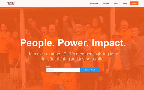 Screenshot of Home Page getup.org.au - GetUp! People. Power. Impact. | An independent movement to build a progressive Australia and bring participation back into our democracy. - captured July 18, 2018