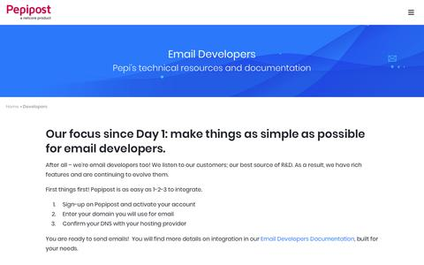 Screenshot of Developers Page pepipost.com - Email Developers Resource, your Guide to Sending Email | Pepipost - captured Dec. 5, 2018