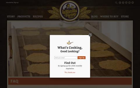 Screenshot of FAQ Page latortillafactory.com - FAQ - La Tortilla Factory - captured Dec. 6, 2015