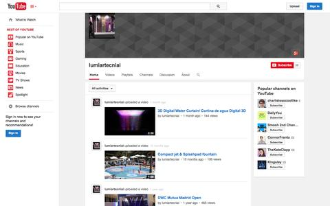 Screenshot of YouTube Page youtube.com - lumiartecniai  - YouTube - captured Oct. 23, 2014