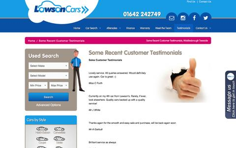 Screenshot of Testimonials Page lawson-cars.co.uk - Some Recent Customer Testimonials, Middlesbrough Teesside | Lawson Cars - captured Dec. 8, 2015
