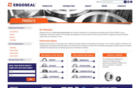 Screenshot of Products Page ergoseal.com - Mechanical Seal Product Line | Ergoseal - captured Sept. 30, 2014