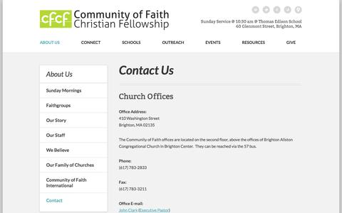 Screenshot of Contact Page cfcfboston.org - Community of Faith Christian Fellowship: Boston, MA > Contact Us - captured Oct. 1, 2014
