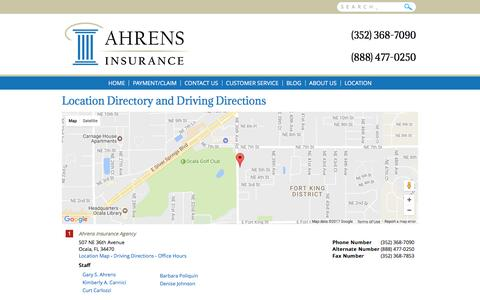 Screenshot of Locations Page ahrensinsuranceagency.com - Ahrens Insurance Agency  Locations and Driving Directions - captured May 29, 2017
