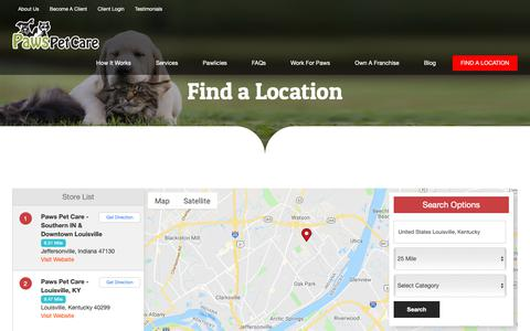 Screenshot of Locations Page pawspetcareathome.com - Find A Paws Pet Care Location Near You | Paws Pet Care Pet Sitting - captured Sept. 27, 2018