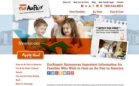Screenshot of Press Page euraupair.com - Host an Au Pair in America | Host Families | EurAupair - captured July 16, 2016