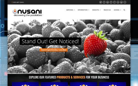 Screenshot of Home Page nusani.com - Digital Advertising & Social Media Branding Agency - Automotive & Small Business - captured Oct. 20, 2018
