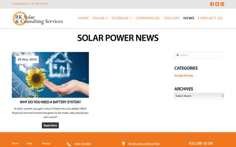 Screenshot of Press Page rksolar.net - News - RK Solar - captured Dec. 1, 2016