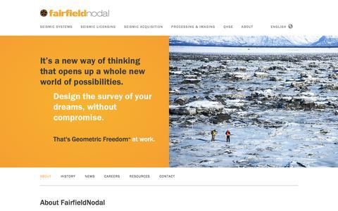 Screenshot of About Page fairfieldnodal.com - Underground Energy Seismic Survey with ZLand — FairfieldNodal - captured Jan. 8, 2016