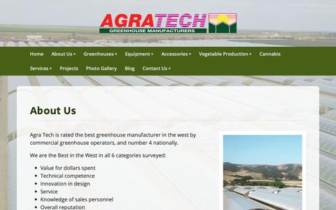 Screenshot of About Page agratech.com - Commercial Greenhouse Manufacturer | Equipment & Accessories Vegetables - captured Oct. 23, 2018