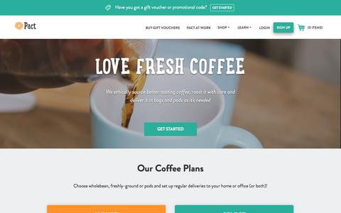 Screenshot of Home Page pactcoffee.com - Pact | Home - captured May 20, 2018