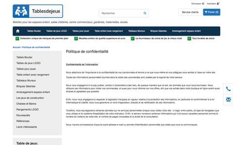 Screenshot of Privacy Page tablesdejeux.fr - Politique de confidentialité - - captured June 11, 2017