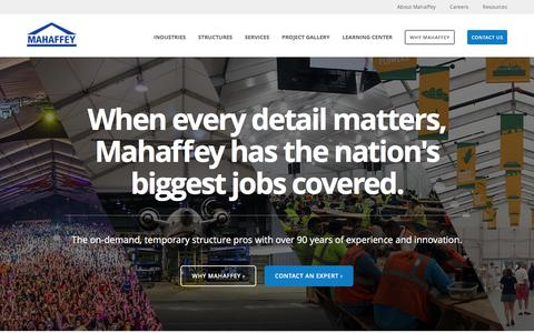 Screenshot of Home Page mahaffeyusa.com - Mahaffey On-demand Temporary Structures - captured Feb. 20, 2016