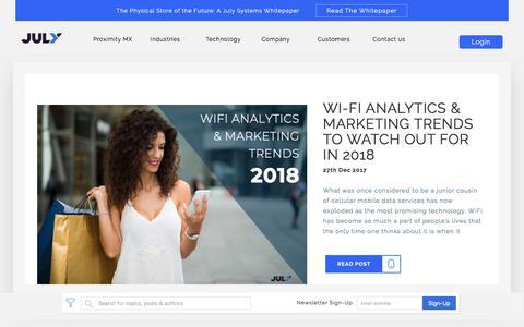 Screenshot of Blog julysystems.com - July Systems Blog   WiFi Analytics & WiFi Marketing Blog - captured Dec. 27, 2017