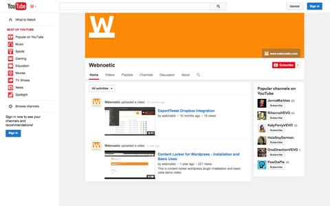 Screenshot of YouTube Page youtube.com - Webnoetic  - YouTube - captured Nov. 4, 2014