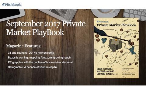 Screenshot of Landing Page pitchbook.com - PitchBook September 2017 Private Market PlayBook - captured Sept. 22, 2017