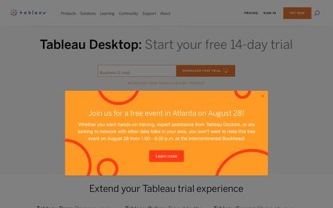 Screenshot of Trial Page tableau.com - Start a Free Tableau Trial: Download your trial here - captured Aug. 15, 2018