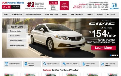 Screenshot of Hours Page dchparamushonda.com - NJ Honda Dealer | DCH Paramus Honda Serving Passaic, Paterson, Fair Lawn & Paramus NJ - captured Sept. 30, 2014