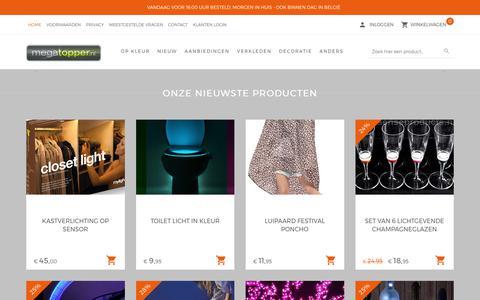 Screenshot of Home Page megatopper.nl - Megatopper Lichtgevende Gadgets Kado's en Geschenken               -          Megatopper.nl - captured Oct. 5, 2017